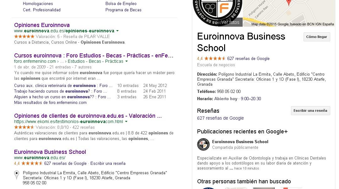 Opiniones euroinnova  Google