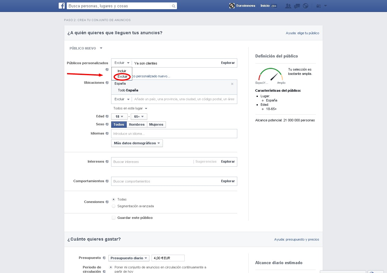 Exlusion en Facebook Ads